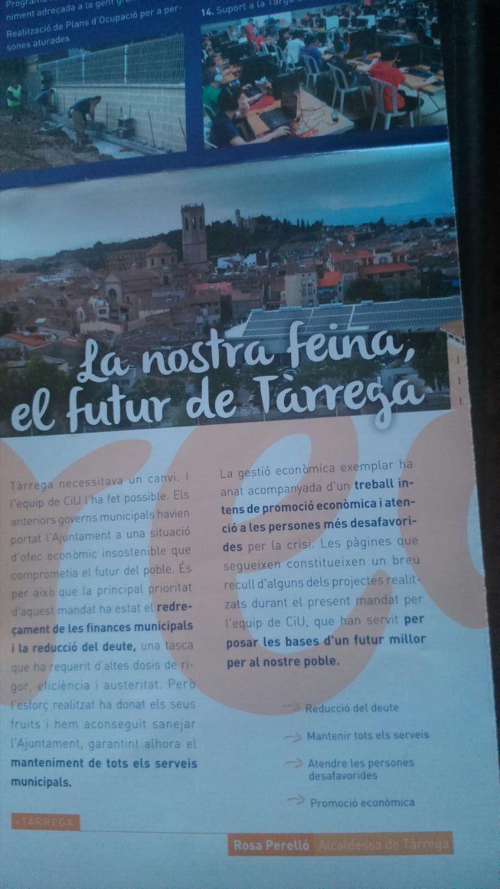 La Junta Electoral demana a l'alcaldessa de Tàrrega que deixi de repartir fulletons arran d'una denúncia del PP