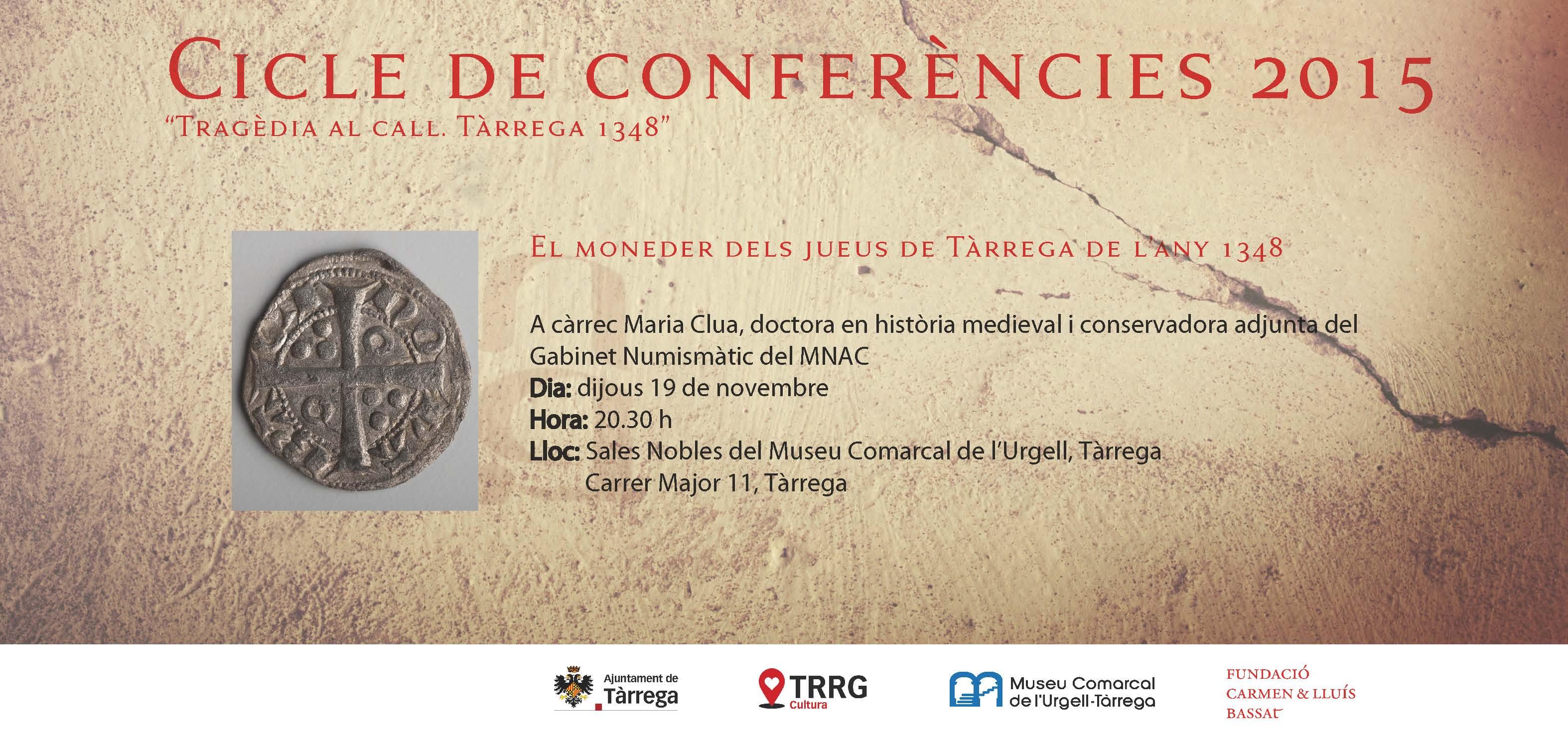 El moneder dels jueus de Tàrrega de l'any 1348, una nova xerrada aquest dijous al MCUT