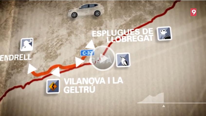 El Carreteres de La Xarxa viatja per la C-32 i fa parada a El Vendrell, Vilanova i la Geltrú, Gavà i Esplugues de Llobregat