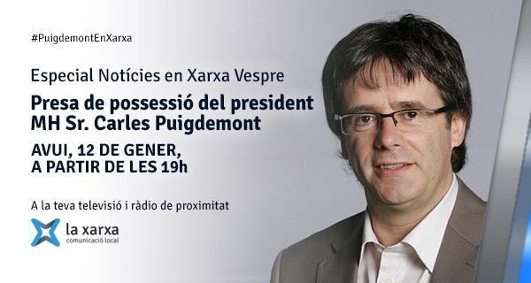 Seguiu a Tàrrega TV un Especial Notícies en Xarxa Vespre (de 19 a 20h) dedicat a la presa de possessió del president MH Sr. Carles Puigdemont.