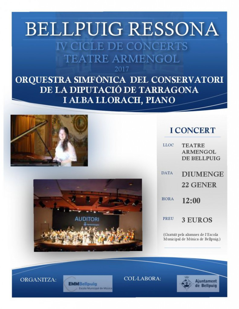 Cartell Bellpuig Ressona Concert OSDT i Alba Llorach