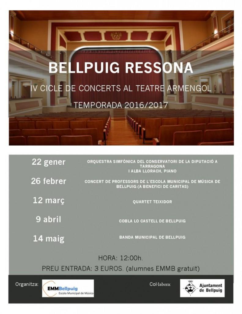 Cartell IV Cicle de Concerts BELLPUIG RESSONA