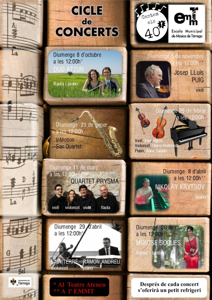 cartell aniversari escola música