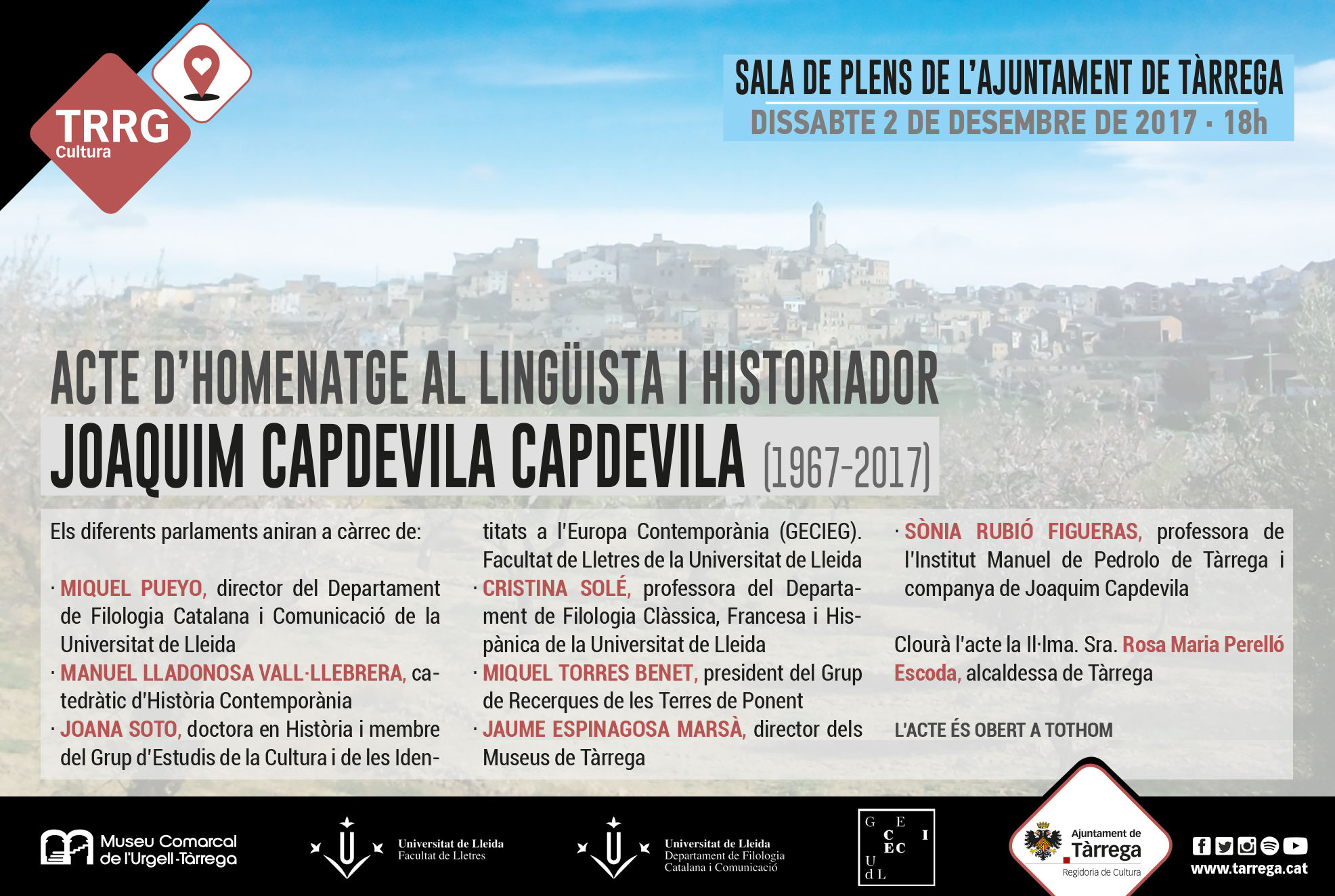 La Universitat de Lleida i el Museu Comarcal de l'Urgell – Tàrrega tributaran un homenatge pòstum al lingüista i historiador Joaquim Capdevila