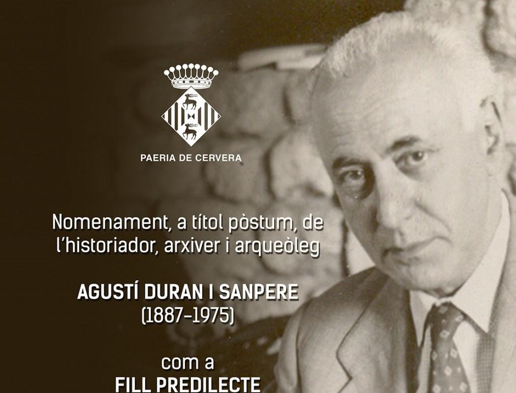 cartell nomenament fill predilecte Agustí Duran i Sanpere