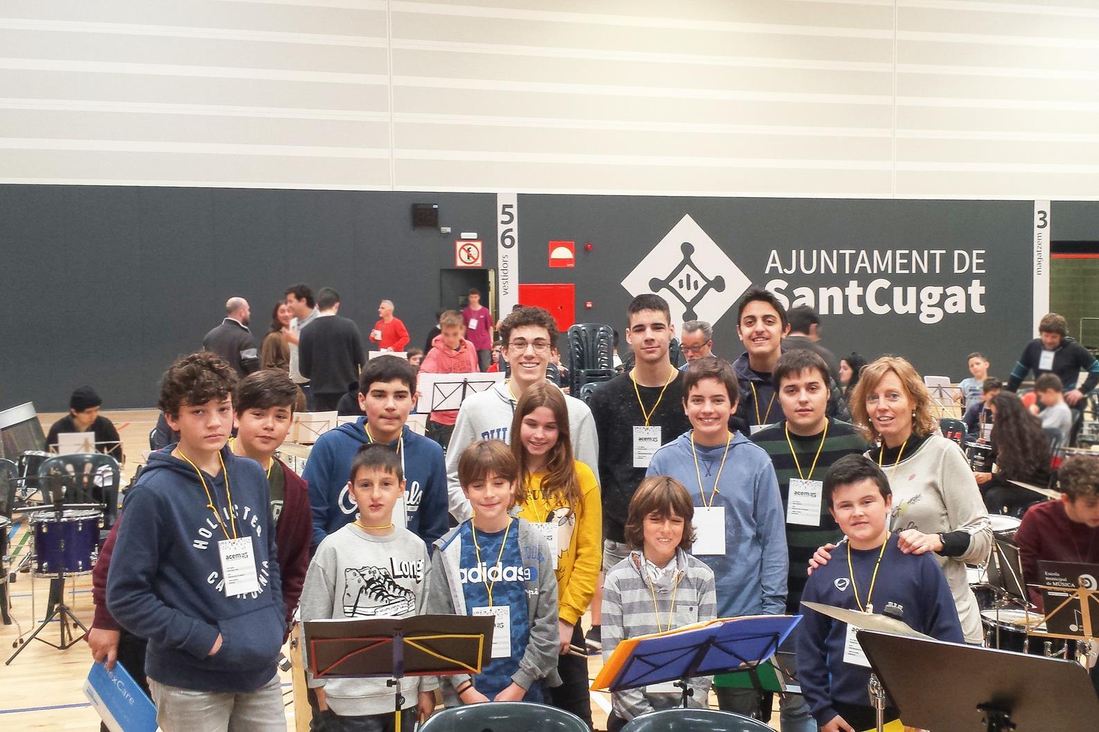 Alumnes de percussió de l'Escola Municipal de Música de Bellpuig van participar a la trobada de l'ACEM