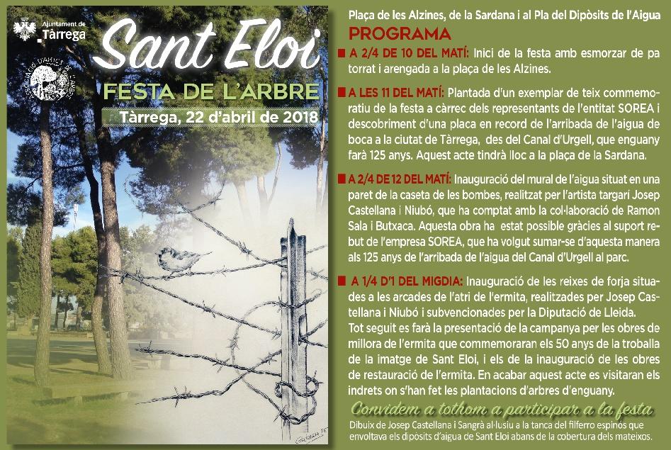 La Festa de l'Arbre de Tàrrega commemorarà aquest diumenge els 125 anys de l'arribada de l'aigua de boca a través del Canal d'Urgell
