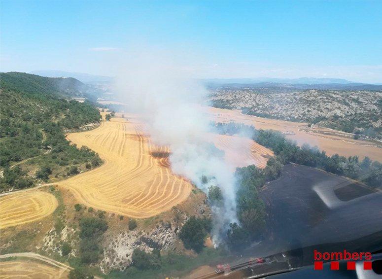 Imatge aèria de la superfície afectada per l'incendi forestal i agrícola al terme municipal de Massoteres el 4 de juliol del 2018. (HORITZONTAL)