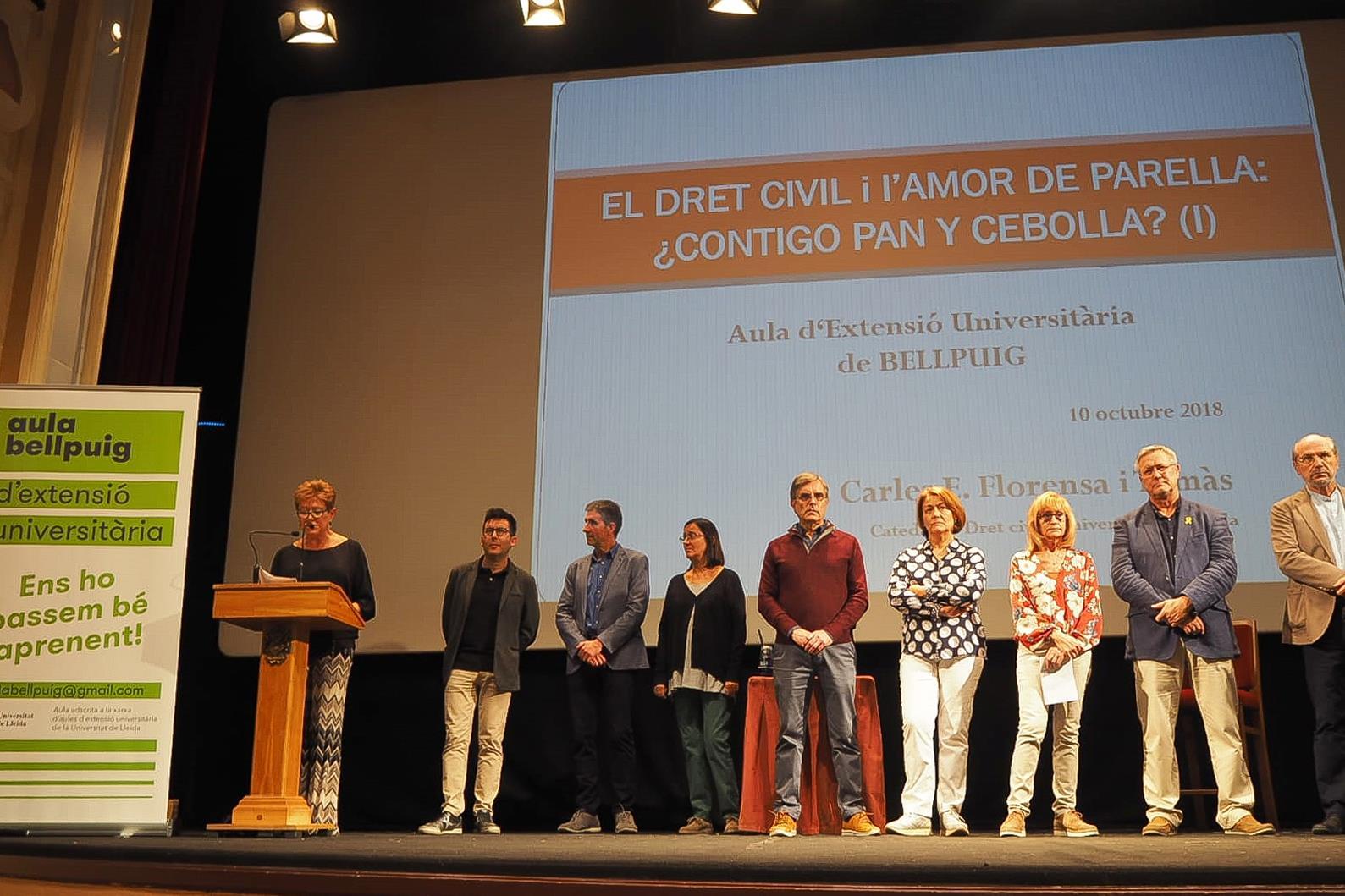 """Amb la ponència """"Dret Civil i l'amor de parella"""" del catedràtic  Carles Florensa  es va inaugurar l'Aula d'Extensió Univesitària de Bellpuig"""