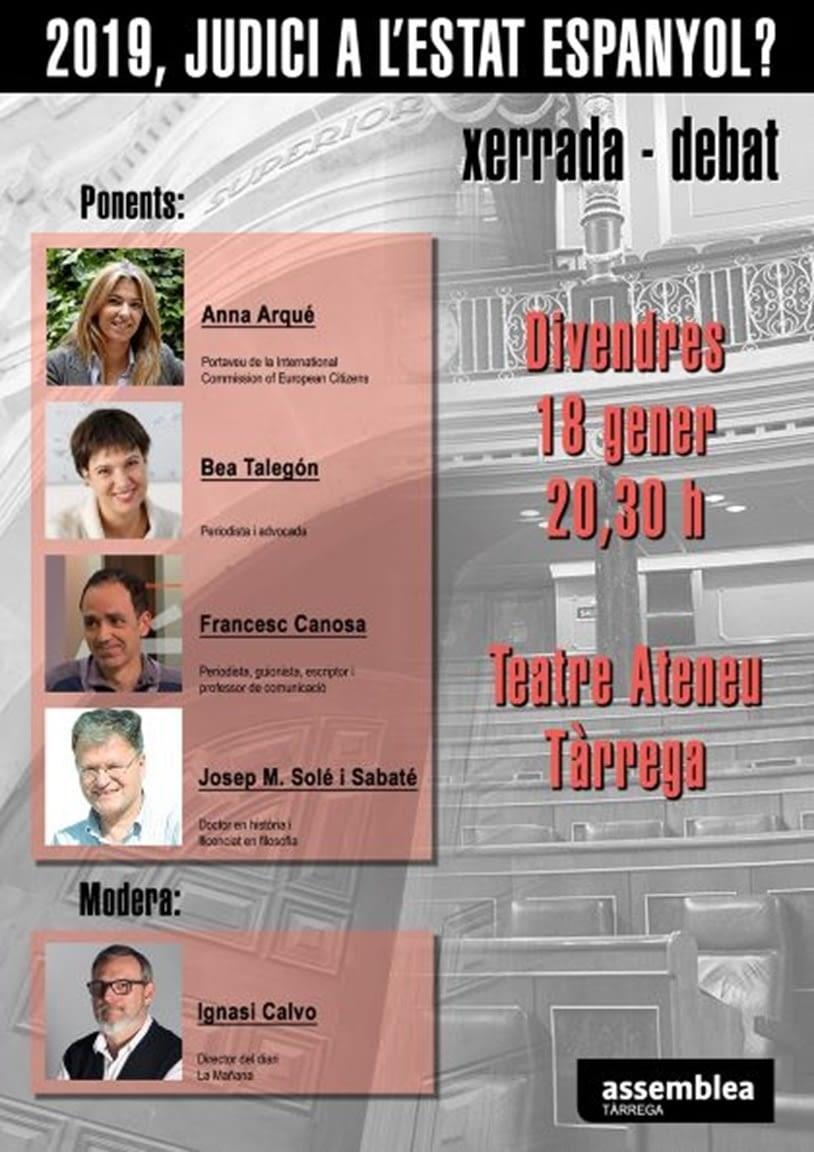 L'ANC de Tàrrega organitza la xerrada/debat '2019, Judici a l'estat espanyol?'