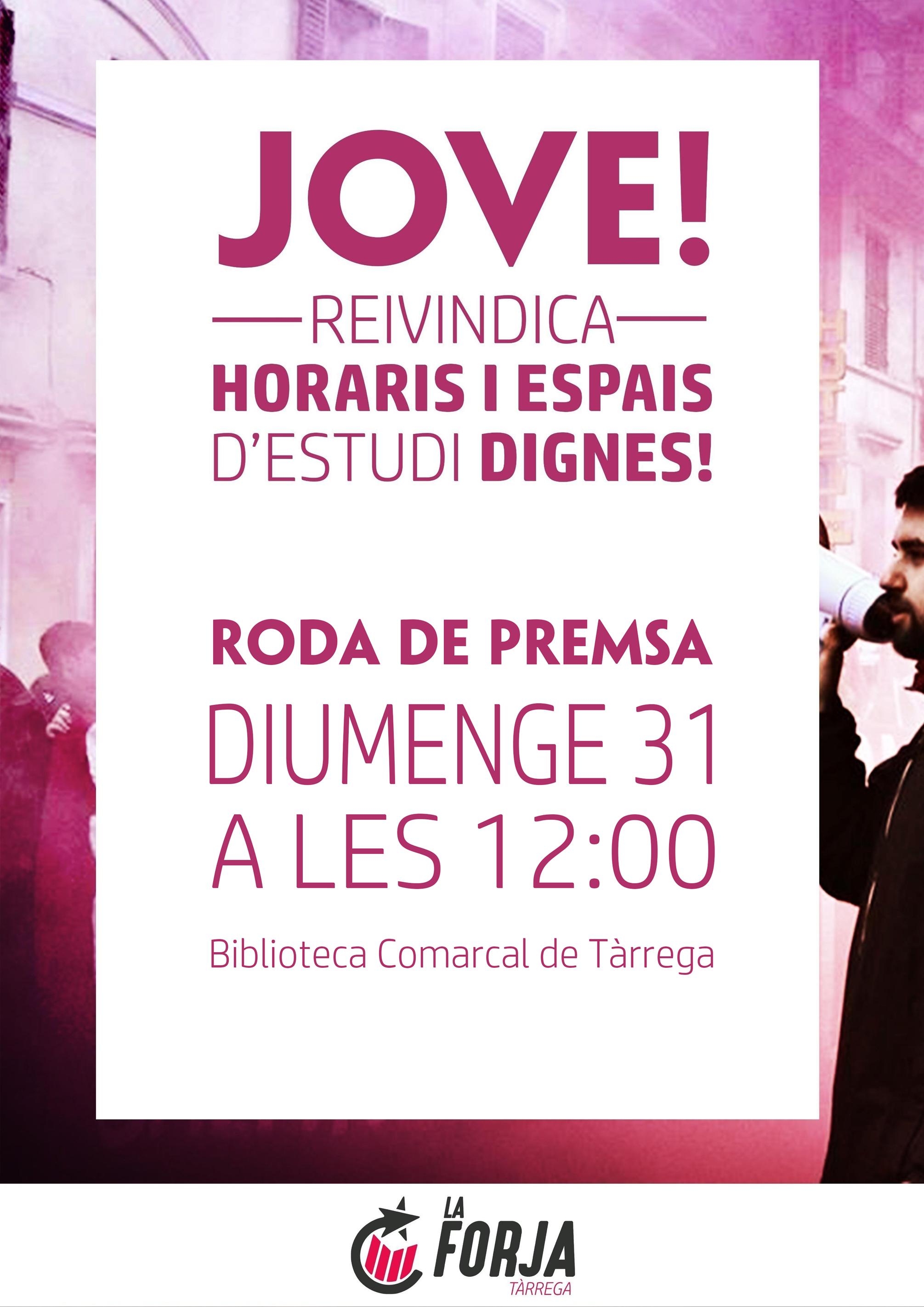 """La Forja presenta aquest diumenge a Tàrrega els punts de reivindicació entorn a la campanya  """"el jovent volem estudiar!""""."""