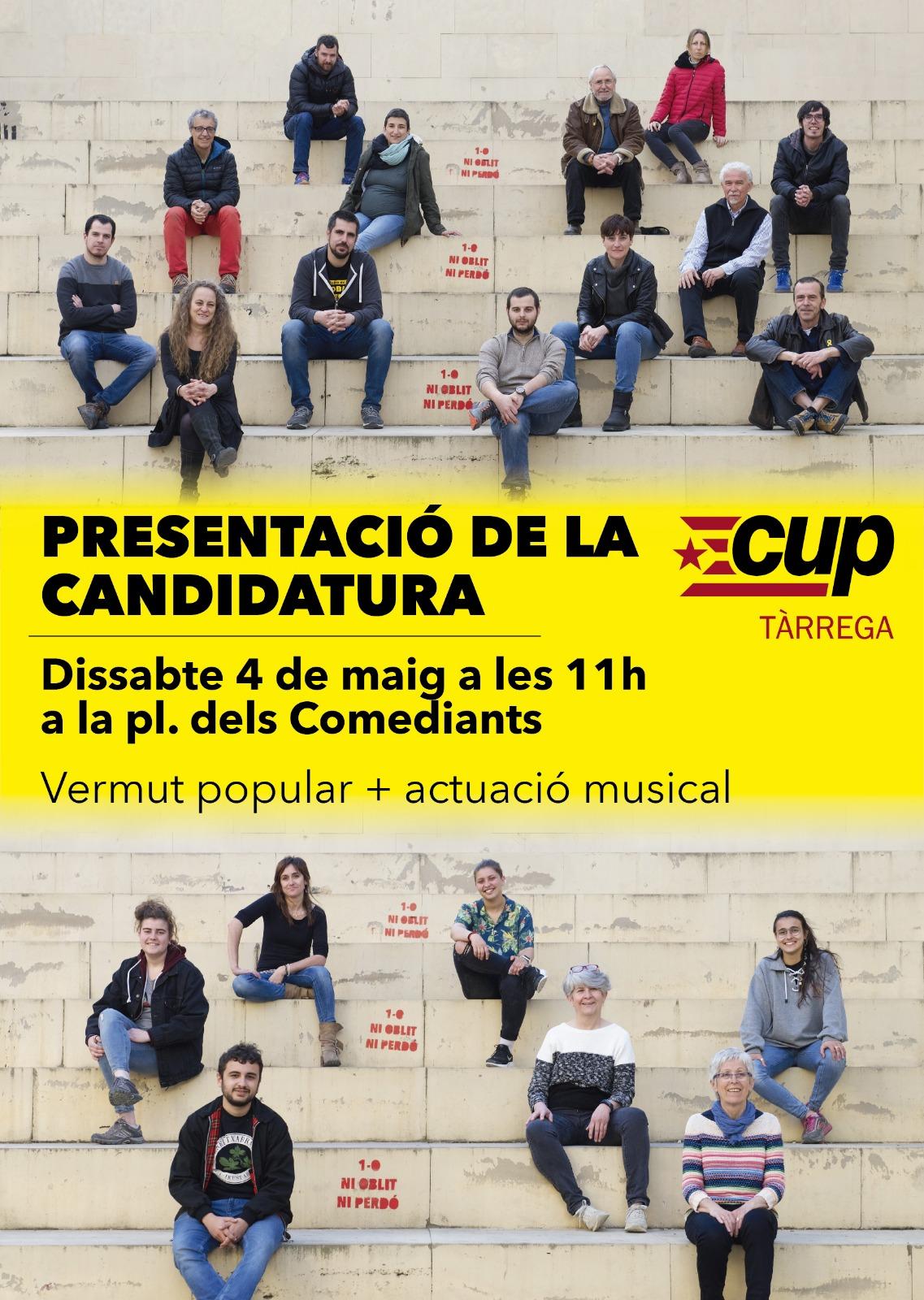 La CUP de Tàrrega presentarà aquest dissabte  la llista i el programa a les municipals
