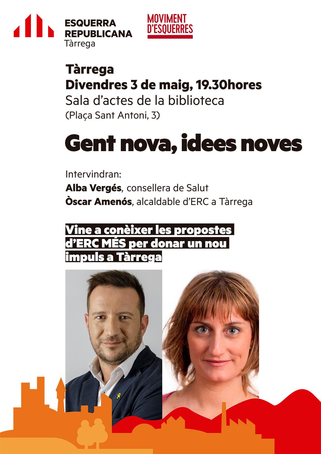 """La consellera de Salut, Alba Vergés, participarà el proper divendres a l'acte """"Gent nova, idees noves"""