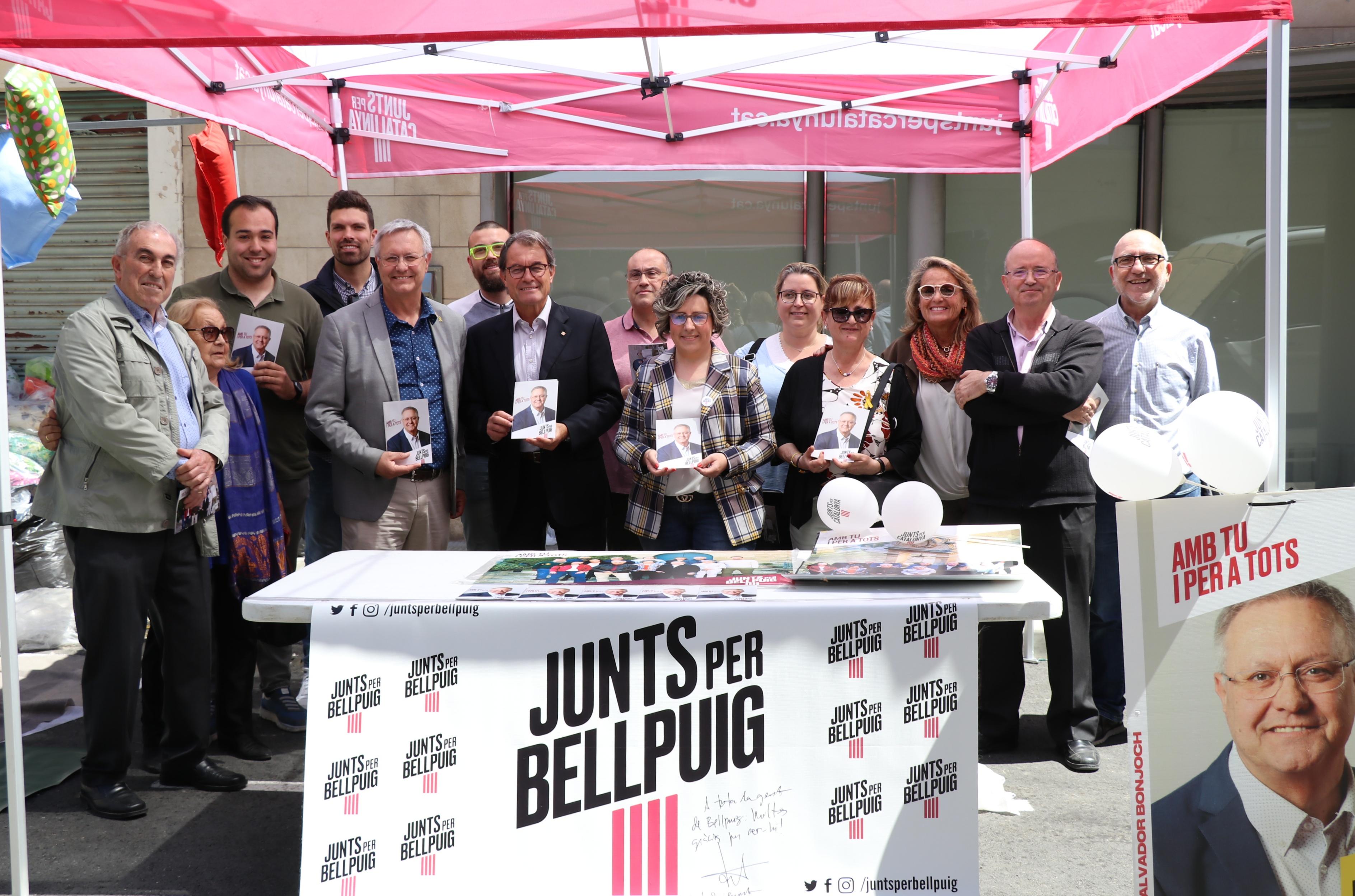 Artur Mas fa costat a Salvador Bonjoch en la campanya de Junts Per Bellpuig