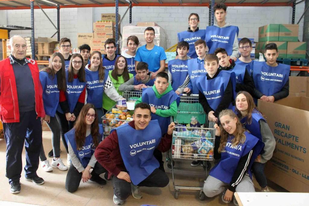 Alumnes de l'Escola Pia de Tàrrega ajudant a classificar productes avui dilluns