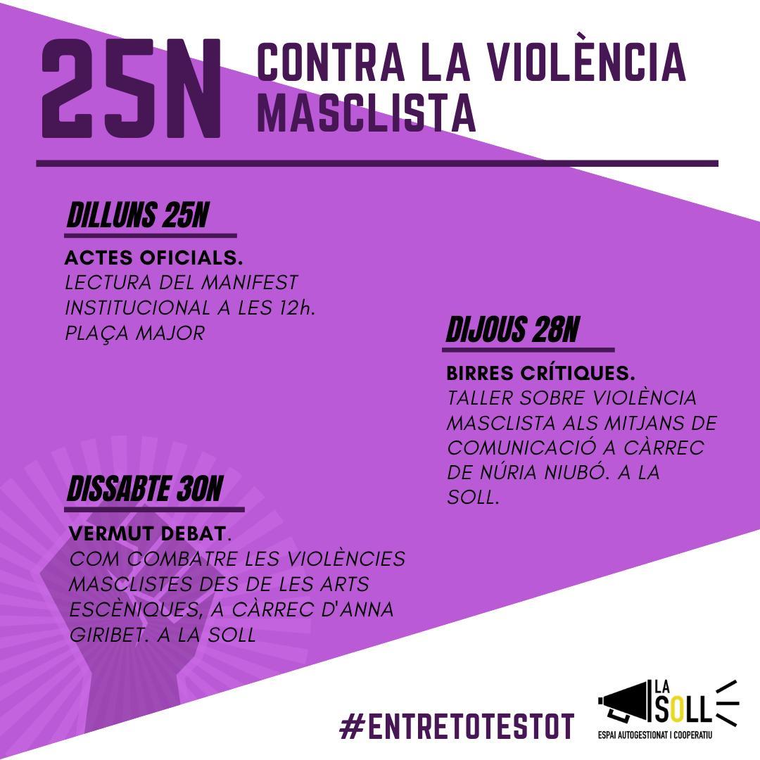 La Soll es prepara pels actes del dia contra la violència masclista