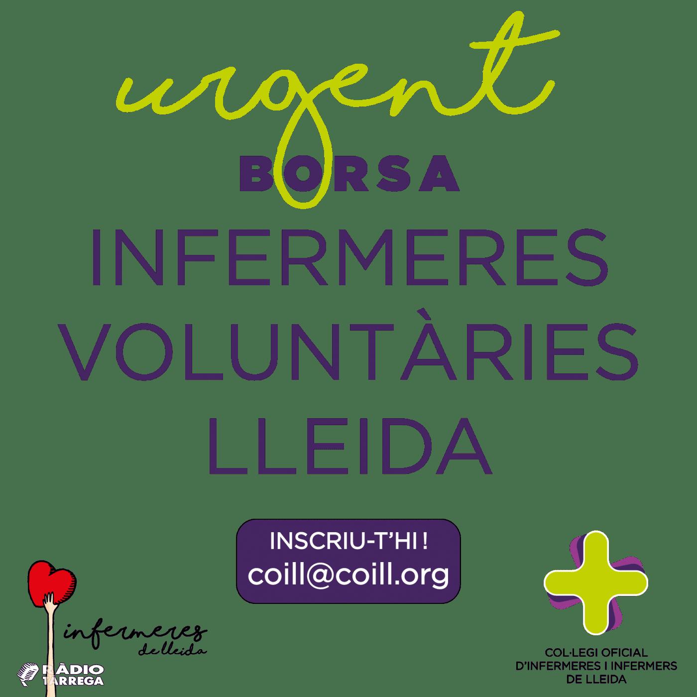 """El COILL fa a una crida """"urgent"""" per captar infermeres voluntàries a les comarques de Lleida"""