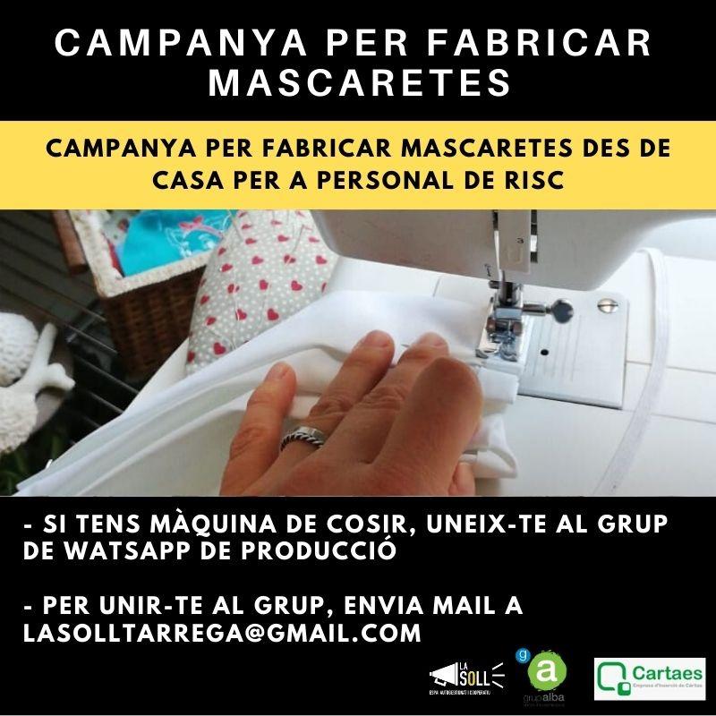 Cartaes, Alba i La Soll inicien una campanya ciutadana per fabricar mascaretes des de casa per a personal de risc