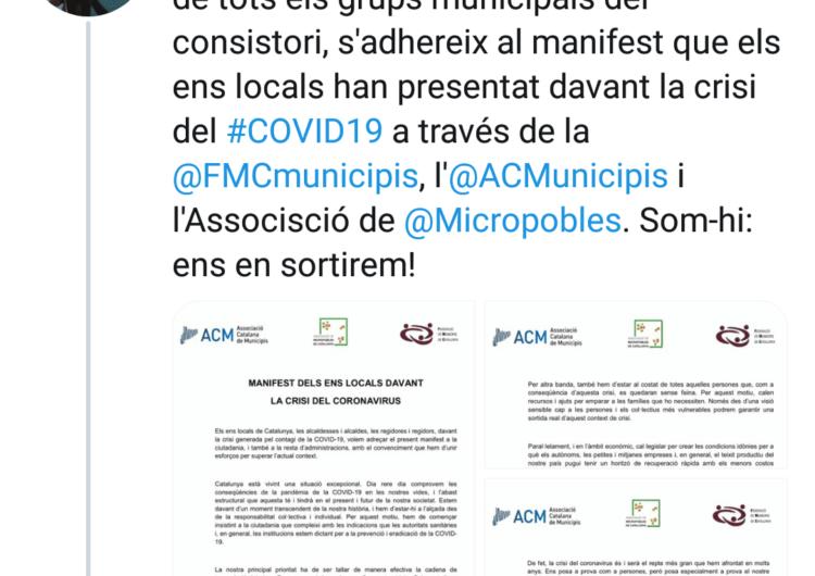 L'Ajuntament de Tàrrega s'afegeix al manifest unitari del municipalisme català #Aturemelcovid19