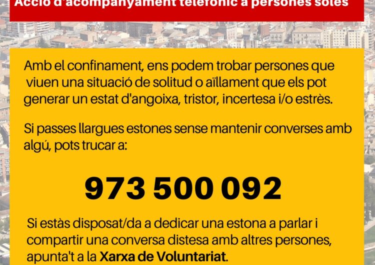 Tàrrega implanta un nou servei d'acompanyament telefònic a persones que viuen el confinament en solitud