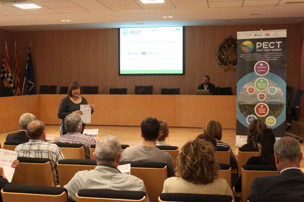 Sessió de treball del PECT de Tàrrega celebrada avui amb l'alcaldessa Rosa Maria Perelló