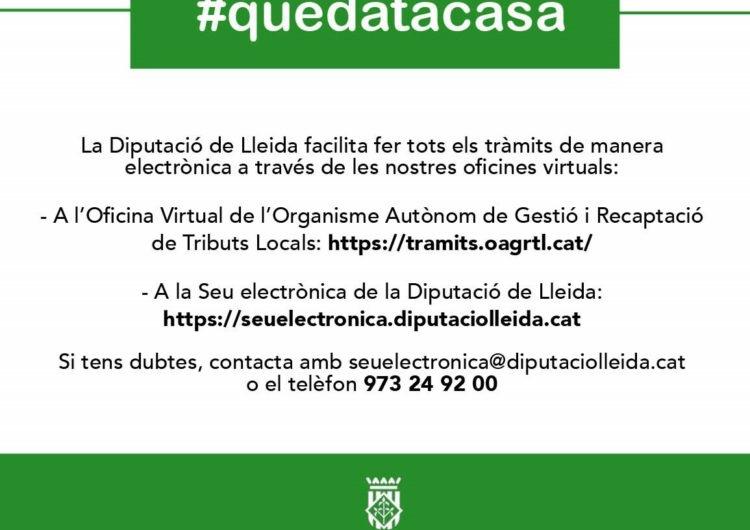 La Diputació de Lleida prorroga les mesures excepcionals per al seu personal i serveis públics fins al 26 d'abril