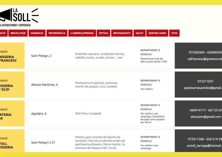45 comerços de proximitat oberts durant el coronavirus s'uneixen al llistat cooperatiu xarxa.lasoll.cat