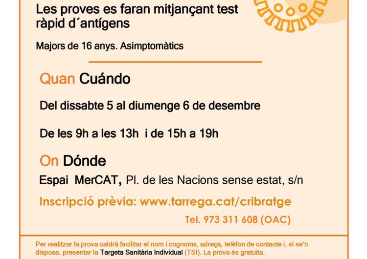 L'Ajuntament de Tàrrega habilita un formulari online per reservar torn al cribratge del  5 i 6 de desembre