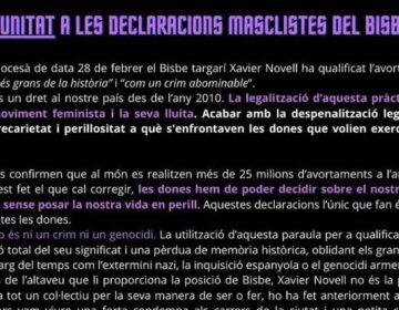 Manifest de rebuig de les declaracions del Bisbe de Solsona on qualifica l'avortamenmt com a genocidi.