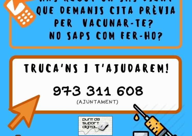 L'Ajuntament de Tàrrega activa un servei de suport per ajudar a demanar cita per rebre la vacuna contra la Covid-19
